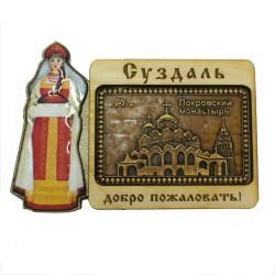 """Магнит из бересты хлеб,соль """"Покровский собор"""". Суздаль"""