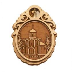 """Магнит из бересты овал с колокольчиком""""Церковь М.Тверского"""""""