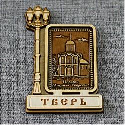 """Магнит из бересты прямоугольный фонарь вертикальный  """"Церковь М.Тверского"""""""
