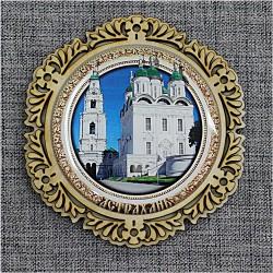 """Магнит со смолой круг снежинка """"Успенский собор"""" Астрахань"""