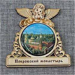 """Магнит со смолой круг ангел """"Покровский монастырь"""" Москва"""