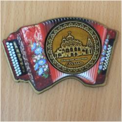 """Магнит из бересты гармонь цветной """"Покровский монастырь"""""""