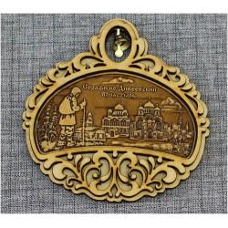"""Магнитное укр. полукруг с колокольчиком """"Три собора+паломник"""""""