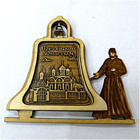 """Магнитное укр. монах с колокольчиком """"Сретенский монастырь"""""""