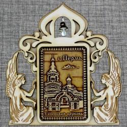 """Магнитное укр. прям.ангелы с колокольчиком """"Успенская церковь"""""""