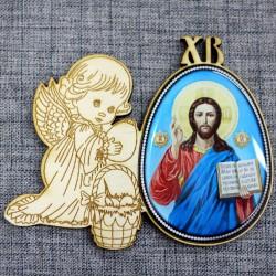 """Магнитное укр. яйцо.ангел ХВ""""Иисус"""""""