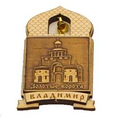 """Магнит из бересты купол""""Золотые ворота"""""""