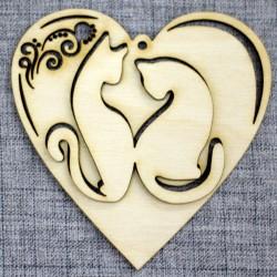 Сердце с котиками (двойное)