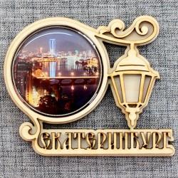 """Магнитное укр. круг.фонарь """"Вид города"""" (ночной вид)"""