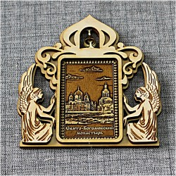 """Магнит из бересты прямоугольный ангелы с колокльчиком """"Свято-Боголюбский монастырь"""""""
