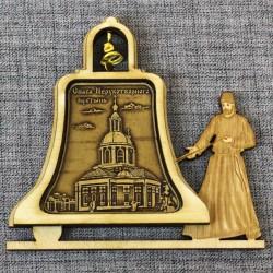 """Магнит из бересты монах с колоколом """"Спаса Нерукотворного пустынь"""""""