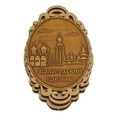 """Магнит из бересты овал вертикальный """"Вологодский Кремль"""""""
