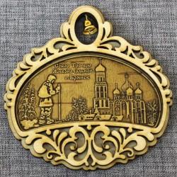 """Магнит из бересты полукруг с колокольчиком""""Собор Троицы Живоначальной+монах"""""""