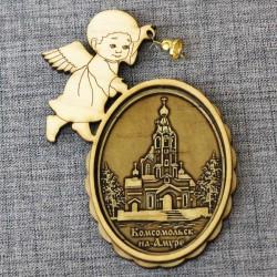 """Магнит из бересты ангел с колокольчиком""""Ц-вь иконы Казанской Б.М."""""""