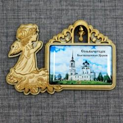 """Магнит из смолы прямоугольный ангел с колокольчиком """"Благовещенская церковь"""""""
