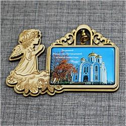 """Магнит из смолы прямоугольный ангел с колокольчиком """"Задонский Рождество-Богородицкий монастырь"""""""