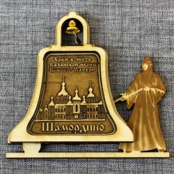 """Магнит из бересты монашка с колоколом  """"Храм в ч. иконы БМ """"Утоли моя печали"""""""