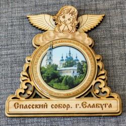 """Магнит из смолы круглый ангел """"Спасский собор"""""""