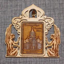 """Магнит из бересты прямоугльный ангелы с колокольчиком""""Храм во имя Св.Препод"""