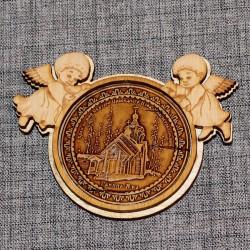 """Магнит из бересты ангелы """"Храм во имя Св.Праведного Иова Многострад"""