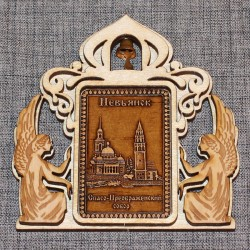 """Магнит из бересты прямоугольный ангелы с кол-м """"Спасо-Преобр.соб.+Башня"""""""