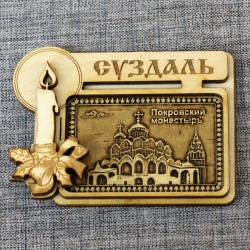 """Магнит из бересты прямоугольный свеча """"Покровский монастырь"""""""