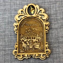 """Магнит из бересты арка с колокольчиком """"Покровский монастырь+карета"""""""