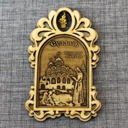 """Магнит из бересты арка с колокольчиком """"Покровский монастырь+монах"""""""