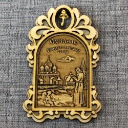 """Магнит из бересты арка с колокольчиком """"Рождеств.собор+монах"""""""