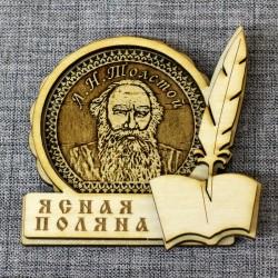 """Магнит из бересты книга """"Л.Н.Толстой"""""""