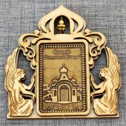 """Магнит из бересты прямоугольный ангелы с колокольчиком """"Часовня Иверской иконы БМ. г. Горячий Ключ"""""""
