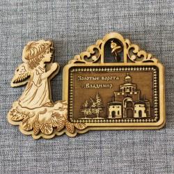 """Магнит из бересты прямоугольный рождественскийангел с кол-м""""Золотые ворота"""""""