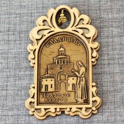 """Магнит из бересты арка с колокольчиком """"Золотые ворота+монах"""" Владимир"""