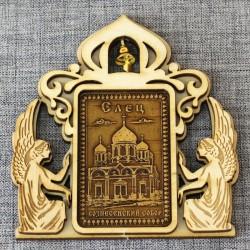 """Магнит из бересты прямоугольный ангелы с колокольчиком """"Вознесенский собор"""" Елец"""