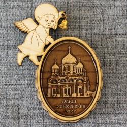 """Магнит из бересты ангел с колокольчиком""""Вознесенский собор"""" Елец"""