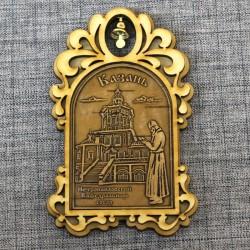 """Магнит из бересты арка с колокольчиком """"Петропавловский Каферальный собор"""