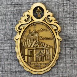 """Магнит из бересты овал с колоколом """"Богоявленский собор"""""""