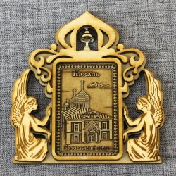 """Магнит из бересты прямоугольный ангелы с колокольчиком """"Богоявленский собор"""""""