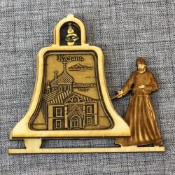 """Магнит из бересты монах с колокольчиком """"Богоявленский собор"""""""