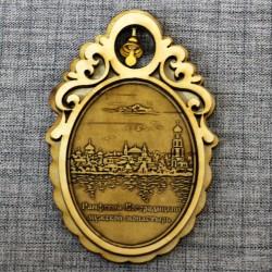 """Магнит из бересты овал с колоколом """"Раифский Богородицкий мужской монастырь"""