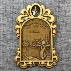 """Магнит из бересты арка с колокольчиком """"Раифский Богородицкий мужской монастырь"""