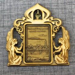 """Магнит из бересты прямоугольный ангелы с колокольчиком """"Раифский Богородицкий мужской монастырь"""