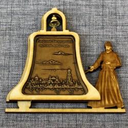 """Магнит из бересты монах с колокольчиком """"Раифский Богородицкий мужской монастырь"""