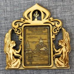 """Магнит из бересты прямоугольный ангелы с колокольчиком """"Свято-Успенский Свияжский мужской монастырь"""