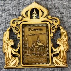 """Магнит из бересты прямоугольный ангелы с колокольчиком """"Свято-Успенский Зилантов женский монастырь"""""""