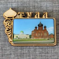 """Магнит из смолы прямоугольный с куполом """"Успенский женский монастырь""""Тула"""