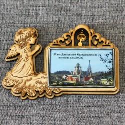"""Магнит из смолы прямоугольный ангел с колокольчиком """"Мало-Дивеевский Серафимовский женский монастырь"""" Ижевск"""