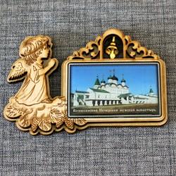 """Магнит из смолы прямоугольный ангел с колокольчиком """"Вознесенский Печерский монастырь"""" Н-Новгород"""