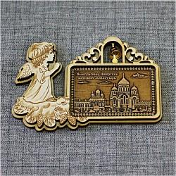 """Магнит из бересты пр рожд ангел с колокольчиком """"Выксунский Иверский женский монастырь"""". Выкса"""