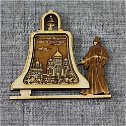 """Магнит из бересты монашка с колокольчиком""""Выксунский Иверский женский монаст"""